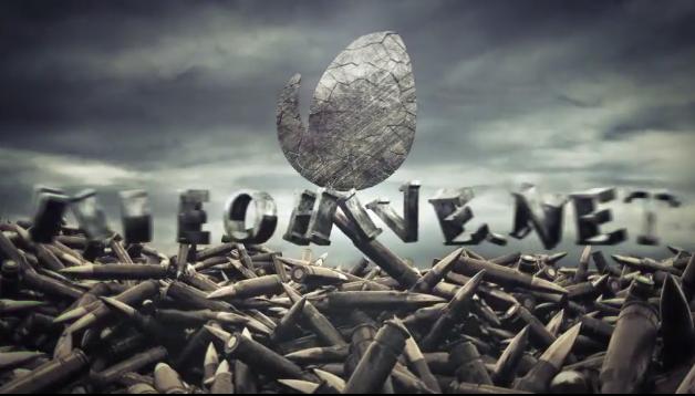 战争子弹废墟logo脱颖而出片头视频素材影视模板