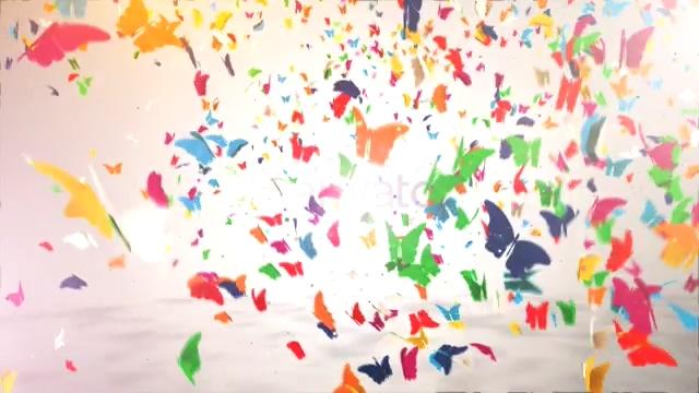 logo,片头,蝴蝶,飞舞,彩色,卡通,多彩,免费视频素材