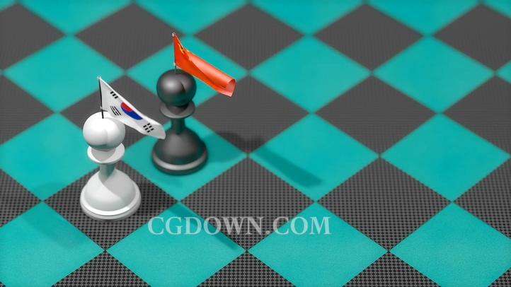 中韩经济贸易政治国际博弈概念视频素材
