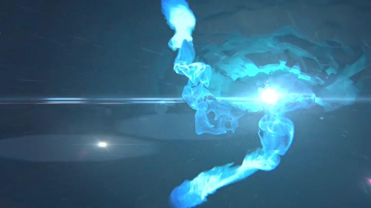 蓝色烟雾火焰聚集爆炸logo片头