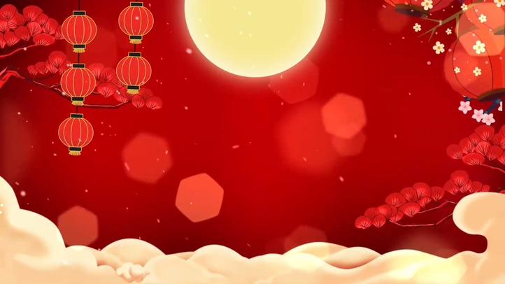 红色中秋灯笼花开月圆喜庆背景素材