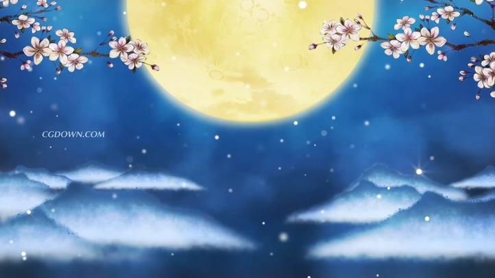 蓝色仲秋花开月圆背景视频素材