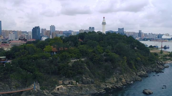 航拍,烟台,高清,城市,海岸线,航拍烟台海岸城市高清实拍视频素材