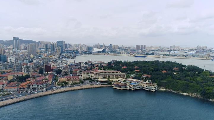 航拍,沿海城市,烟台,山东,海岸线,高清,航拍山东烟台美丽城市金海湾高清实拍视频素材