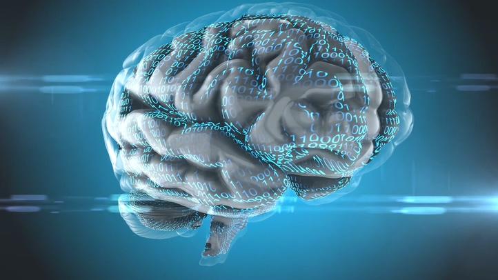 科技,医疗,大脑,思想,计算,科技数码0和1布满医疗科技大脑皮层视频素材