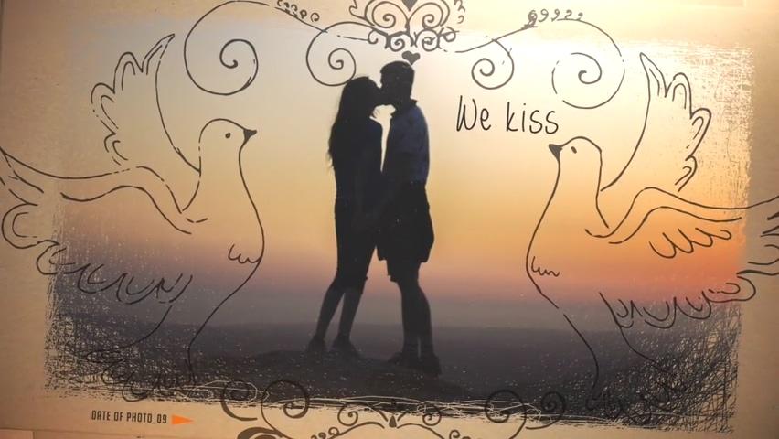 浪漫婚礼黑白线条勾勒照片边框14589617-love-story-slideshow视频素材影视模板