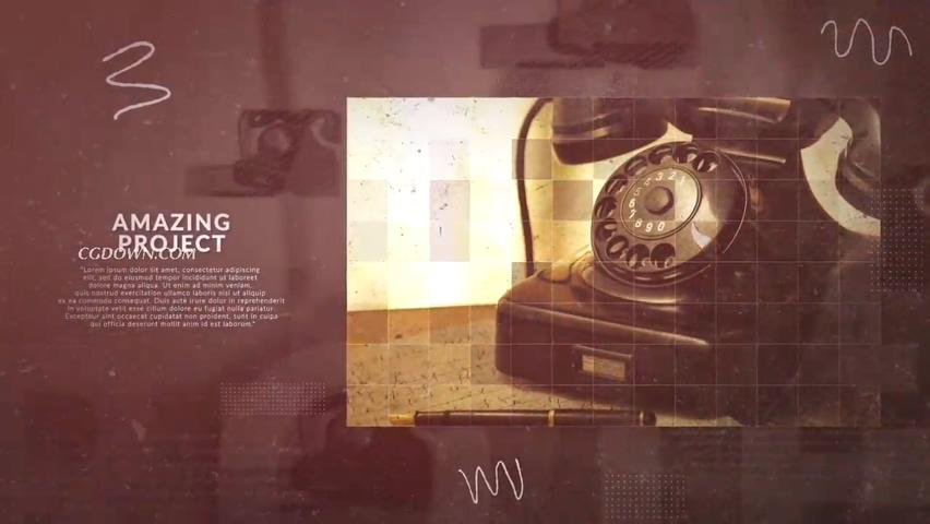 复古照片拼接企业大事记视频素材影视模板