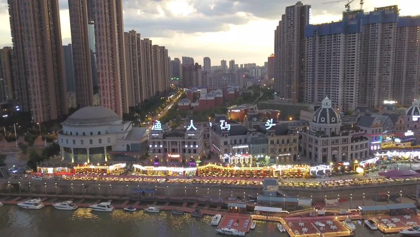 长沙,航拍,渔人码头,城市,长沙河西渔人码头高空傍晚航拍城市风光视频素材