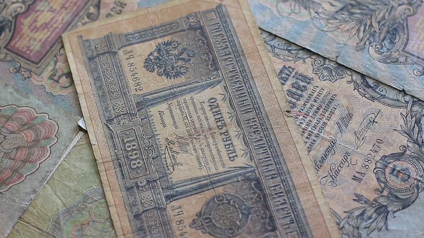 卢布,俄罗斯,钱币,货币,纸币,俄元,俄罗斯交易货币钱币纸币实拍视频素材