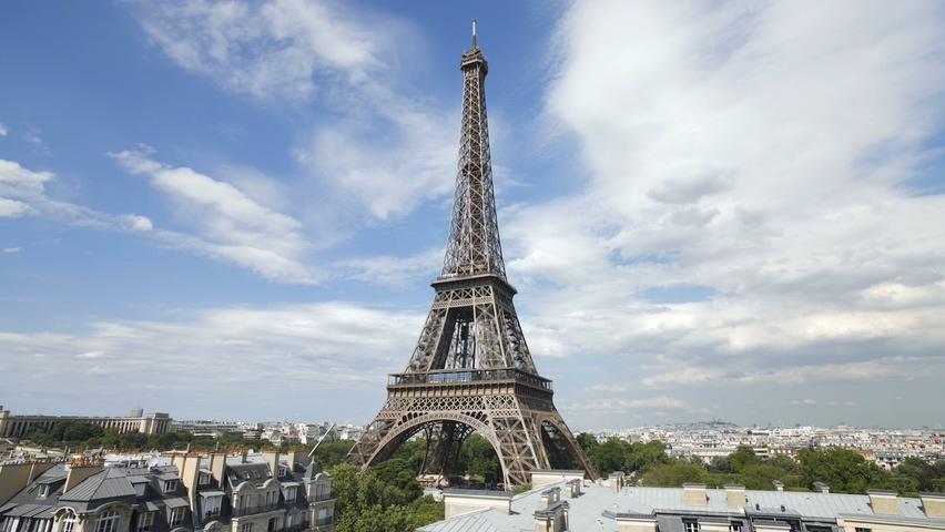 法国,巴黎,巴黎铁塔,埃菲尔铁塔,法国巴黎埃菲尔铁塔延时实拍视频素材