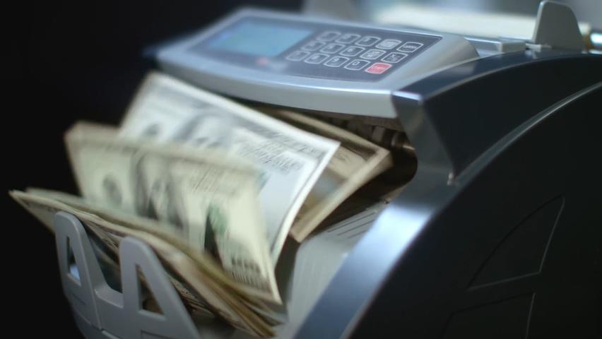 验钞机,美金,美元,点钞机点数美元美金,免费视频素材