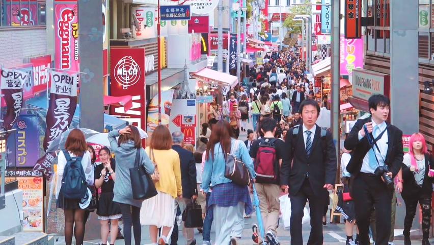 日本,城市,文化,街道,逛街,日本城市街道年轻人逛街人群视频素材