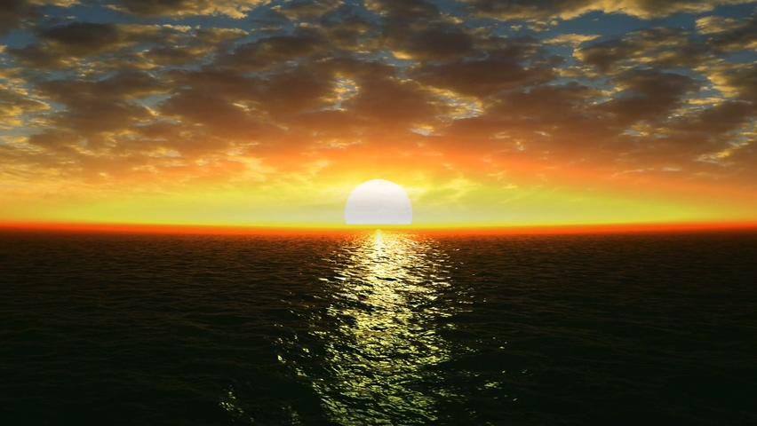 海光照耀大海夕阳自由视频素材影视模板