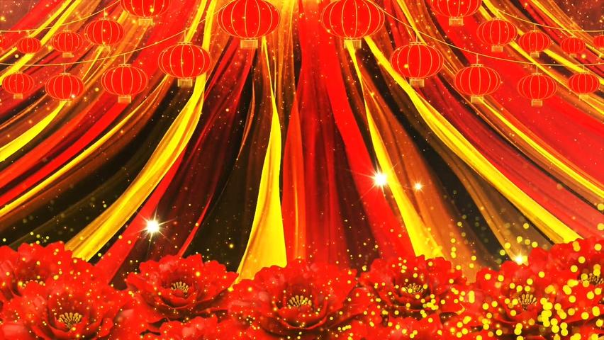 华丽绽放红绸丝带喜庆典礼背景视频素材