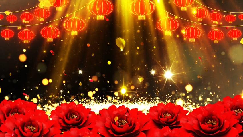 红金灯笼牡丹新春动态背景素材