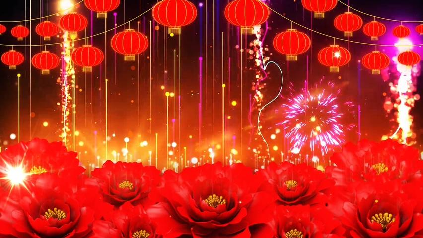 红金,粒子,牡丹,灯笼,喜庆,大气红金粒子牡丹动态背景视频素材视频素材