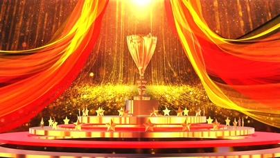 绸缎,红绸,粒子,大气,奖杯,颁奖,红金绸带粒子大气颁奖动态背景素材视频素材