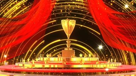 绸缎,红绸,粒子,大气,奖杯,颁奖,红绸粒子颁奖动态背景视频素材视频素材