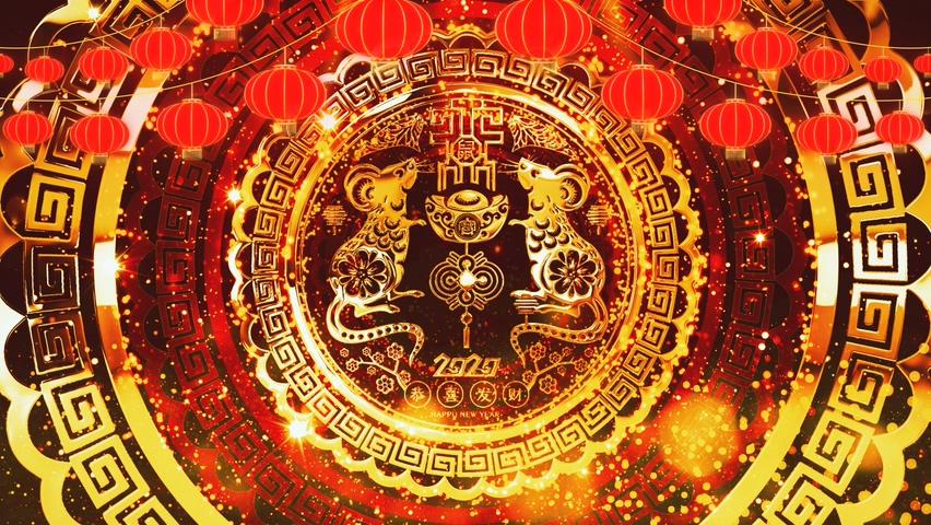 喜庆中国农历新年生肖鼠年喜庆背景