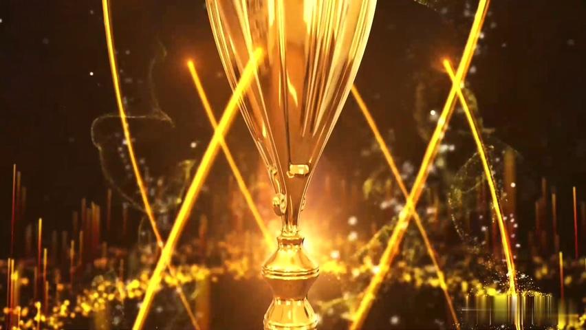 粒子,金粉,金色,奖杯,盛典,颁奖,底座,华丽,大气,圆环底盘粒子金色绽放奖杯年会颁奖视频素材