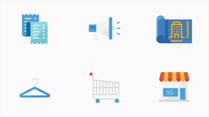 网络销售电商视频短片动态动画图标