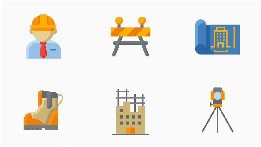房屋建筑电气工具等元素动画图标