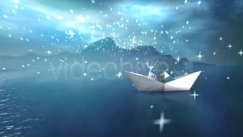 折纸,月光,圣诞,白色月光纸船圣诞片头视频素材