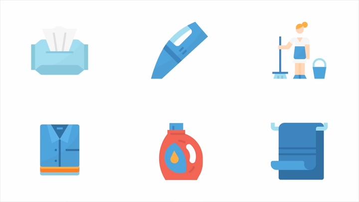 卡通mg动画家庭清洁动态图标