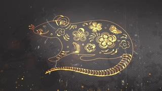 金色粒子线条中国新年鼠年片头视频素材影视模板