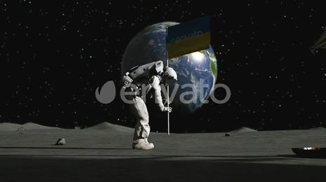 宇航员登月后在月亮上插上你的公司logo