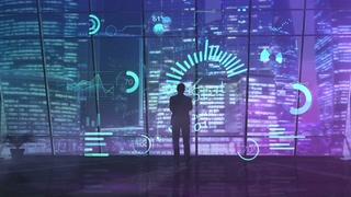一名商人的轮廓使用新技术分析数据5g网络视频素材影视模板