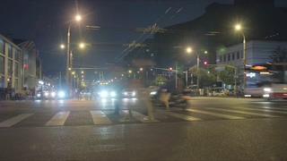 北京,城市,车流,夜晚,交通,北京街头的夜晚的时光延时拍摄视频素材