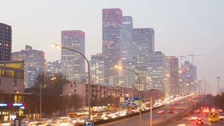 北京,cbd,日落,北京中央商务区高楼cbd日落时间流逝视频素材