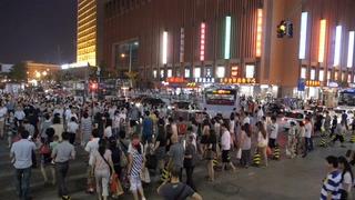 夜晚,繁忙,北京,人行横道,街道,夜晚繁忙的北京人行横道街道视频素材