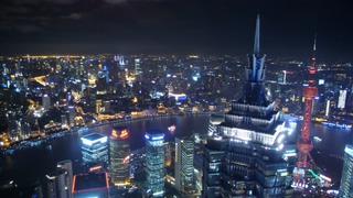 上海,黄浦江,上海夜晚在黄浦江高楼上俯视拍摄实拍视频素材