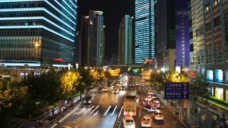 上海,浦东,车流,在上海浦东俯拍立交桥车流延时视频素材