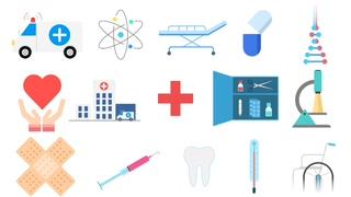 医疗,医学,一组卡通医疗设备工具图标视频元素视频素材