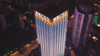 夜景,航拍,南京,商务,航拍夜景南京商务区街景大景视频素材