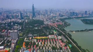 航拍,南京,航拍南京城市大景玄武湖风景区视频素材