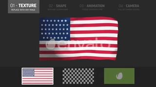 旗帜,真实3d飘扬旗帜效果AE模板,免费视频素材