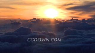 云彩,日出,云层,云层上方拍摄日出奇妙景观视频素材