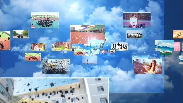 毕业,汇聚,片头,蓝天白云图片汇聚企业logo毕业片头视频素材