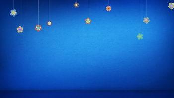 蓝色,跳动五彩小花,无缝循环五