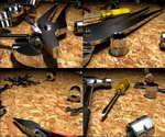 三维,五金,金属,维修,汽车,零件,罢工,螺丝刀,锤子,扳子,掉落,放弃,检修,维修工具,金属质感,金属渲染,金属材