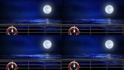 月色,海洋,大海,月亮,船上,无缝循环十一