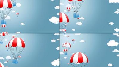 从天而降的礼物,降落伞,促销,无缝循环十一