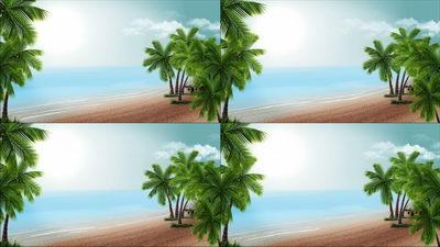 椰树,海滩,夏日,夏天,天空,云彩