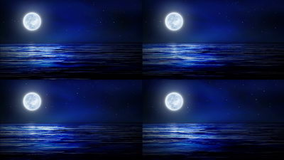 海洋,月色,月亮,大海,月光,无缝循环十一