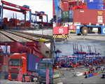 集装箱,海上,码头,干线,海港,港口,装卸,商港,航道,物流视频素材