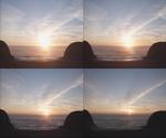 日落,太阳,大海,海平线,天空,白云